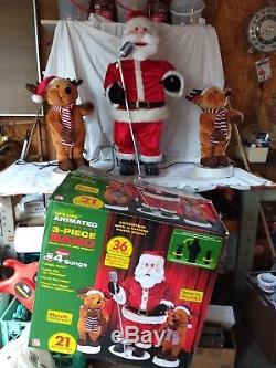 GEMMY Animated Santa & Reindeer 3 Pc Band Set Dancing Singing 36 Works Great