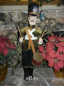 GIANT 35 INCH TALL TOY SOLDIER DRUMMER in GREEN CHRISTMAS DISPLAY RARE