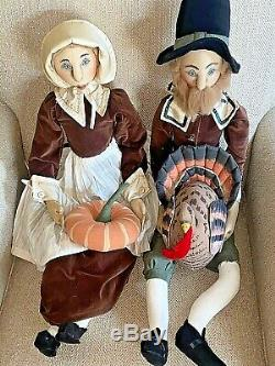 Gathered Traditions JOE SPENCER Thanksgiving PILGRIM COUPLE Shelf Sitter Dolls