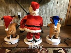 Gemmy 2 Ft Animated Santa With Reindeer 3 Piece Band Christmas Works Great