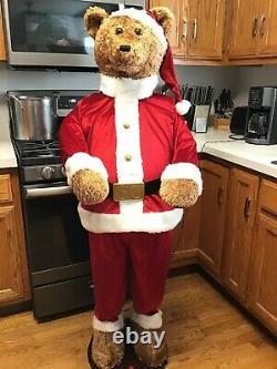 Gemmy 5ft singing dancing Santa bear with microphone for karaoke