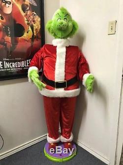 Gemmy Animated DANCING & SINGING 5' DR SEUSS GRINCH CHRISTMAS SANTA