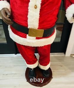 Gemmy Life Size Animated Singing Dancing Black Santa Claus Karaoke with Mic