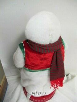 Gemmy Spinning Snowflake Snowman Snow Miser Red Vest