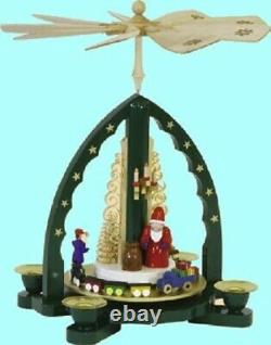 German Christmas Pyramid with Santa and Train Handcrafted in Germany Carousel