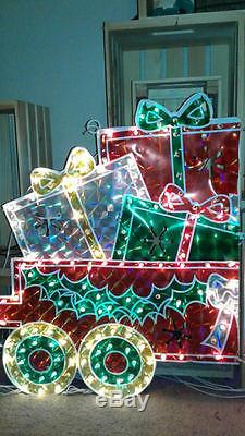 Giant Holographic Train Box Car Rare Noma Christmas Light Up Decoration