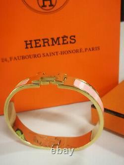 HERMES CLIC H bracelet pink gold pink enamel
