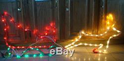 HTF 48 2 Part SLEIGH & REINDEER Silhouette Light Sculpture -MR. CHRISTMAS