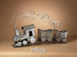 Holiday Antique Silver Metal Christmas Tree Train Decor Twinkling Lights Timer
