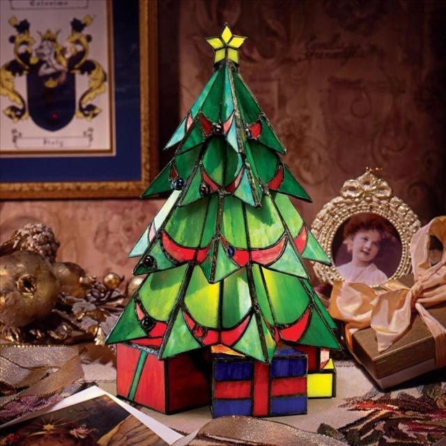 Holiday Christmas Tree Stained Glass Illuminated Rich Tradition Sculpture