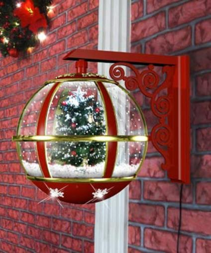 Holiday Wall Mount Led Lighted Musical Snow Globe Christmas Tree Lamp With 25