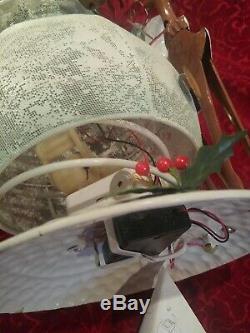 Home Interiors Metal Dancing Snowman, Blinking Nose Rudolph Jingle Bells Musical