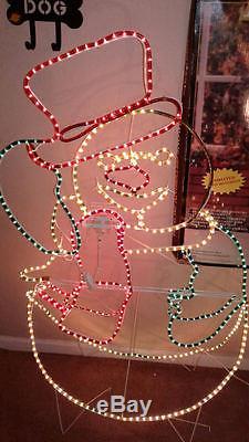 Illuminated Snowman Rope Light Animated Rare Frosty Christmas Decoration