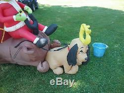 Inflatable Airblown Blow Up Grinch that Stole Christmas with max in sleigh READ