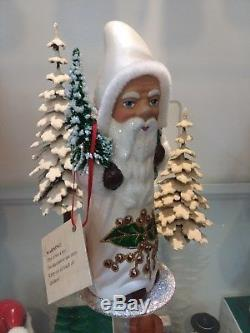 Ino Schaller White Santa with Holly Candy Container
