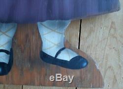 J Buller Boardwalk Originals Hand Painted Art Signed 1994 Cat in a Purple Dress