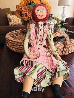Joe Spencer / Gathered Traditions RARE Folk Art Doll APPLE CORRIE