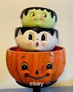 Johanna Parker Halloween Trio Bowl Set VHTF