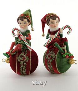 Katherine's Collection Elf On Ornaments Set Of 2 28-928603 NEW CHRISTMAS 2020