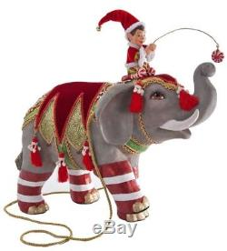 Katherine's Collection Noel Elephant Christmas with Elf Figure LARGE Kleski NEW