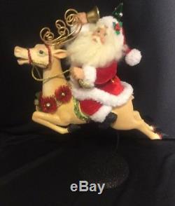 Katherine's Collection Santa Claus On Reindeer Christmas Display New