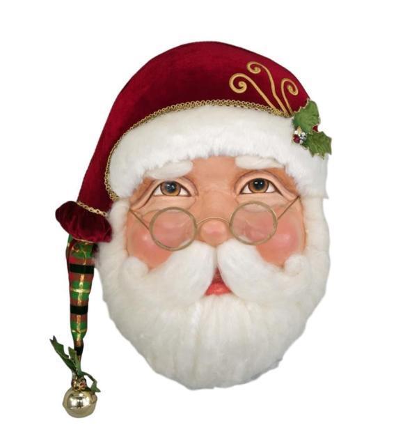 Katherine's Collection Tartan Traditions Christmas Santa Wall Mask New 2017