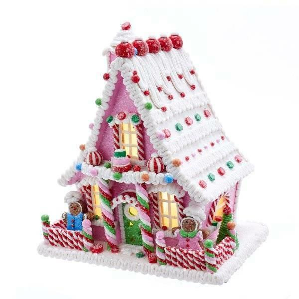 Kurt Adler Gingerbread House Battery Operated Led Lighted Candy Theme Village