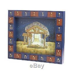 Kurt Adler Wooden Nativity Advent Calendar with 24 Magnetic Figures, New