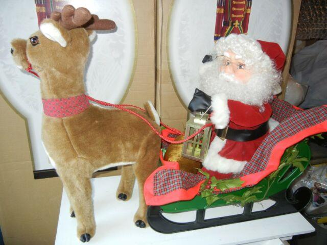 Large Animated Santa With Sled And Reindeer Christmas Display Figure Moves