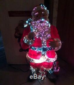 Large 30 Color Changing Fiber Optic SANTA In Box Door Greeter Christmas RARE