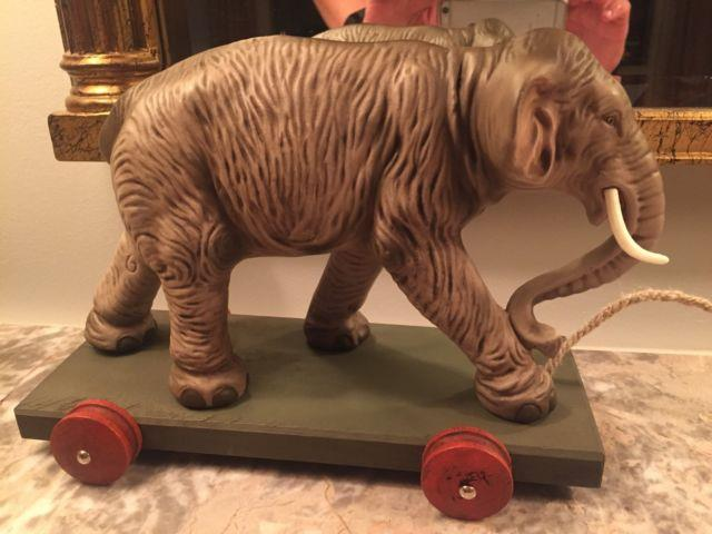 Large Marolin Paper Mache Elephant Vintage Style Pull Toy Germany Christmas