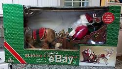 Large animated reindeer & santa in sleigh 1997 holiday creation works w box
