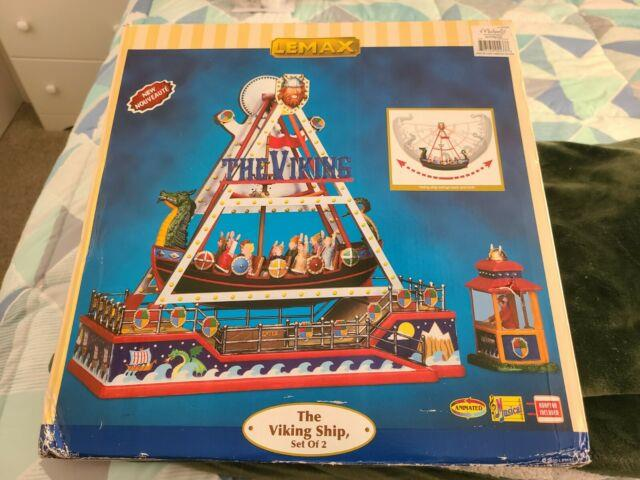 Lemax Village Collection Viking Ship Carnival Ride Animated Music Lights Mint