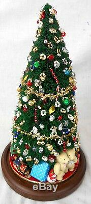 Lot 2 Miniature Christmas Trees Under Glass Domes EUC