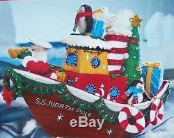 MINT RARE BUCILLA FELT KIT Christmas Tug Boat NIP 86204 2010 S. S North Pole