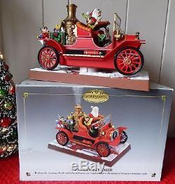 MR CHRISTMAS STANLEY STEAMER SANTA & ELVES Smokin/Moving 13 Carol Music Box