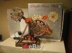 MR CHRISTMAS World's Fair Style DOUBLE FERRIS WHEEL 30 Tune Action/Lites Musical