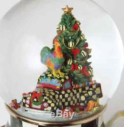 MacKenzie-Childs Snow Globe Christmas Courtly Check Farm Truck-Enamel Cup/Saucer