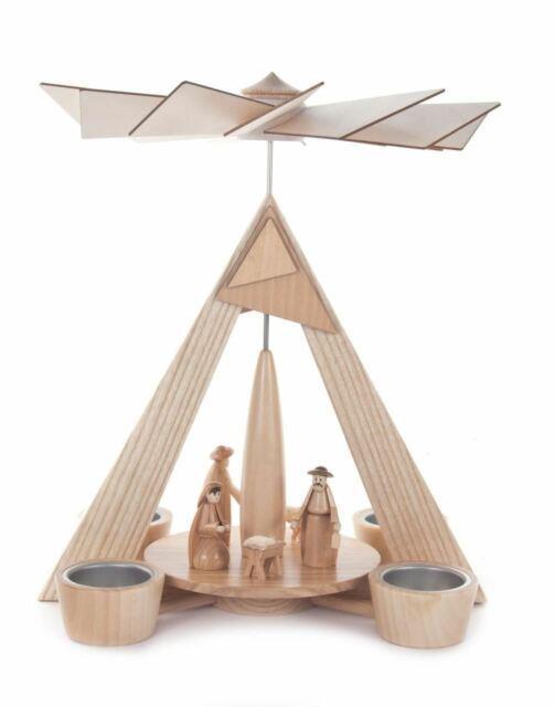 Modern Nativity German Tea Light Pyramid