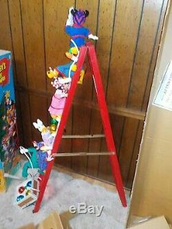 Mr Christmas 1993 Mickey's Tree Trimmers 6 Animated Figures On Ladder WithBox