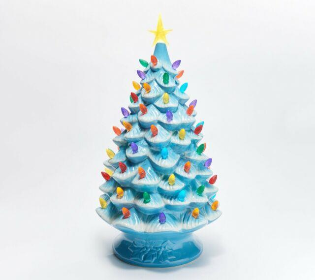 Mr. Christmas 24 Blue Oversized Plug-in Nostalgic Ceramic Christmas Tree