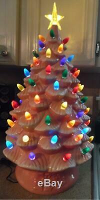 Mr. Christmas 24 PINK Oversized Plug-In Lighted Ceramic Christmas Tree NIB QVC