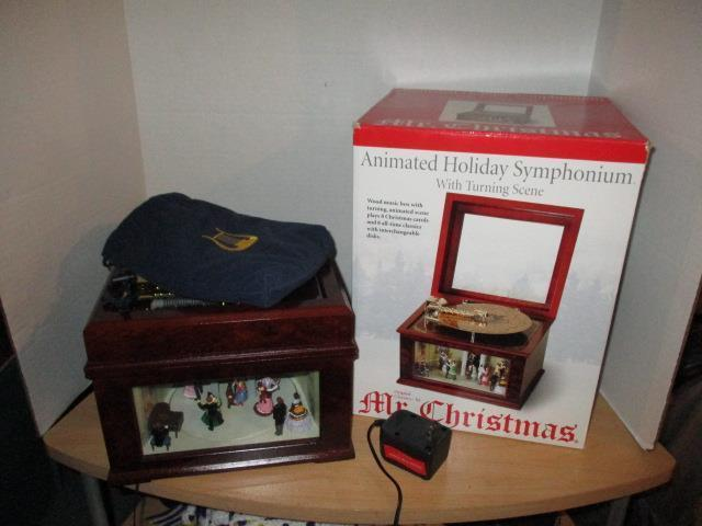 Mr Christmas Animated Musical Bell Symphonium Wooden Music Box With 16 Discs