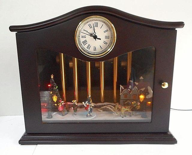 Mr. Christmas Animated Musical Chimes Skaters Withclock 70 Songs Box Scenery