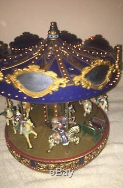 Mr Christmas Carousel Merry Go Round Lighted Animated Musical RARE BLUE TOP