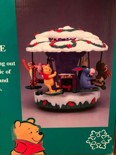 Mr. Christmas Disney A Holiday Ride Carousel Merry Go Round Works Good Condition