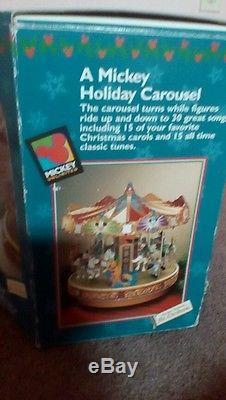 Mr. Christmas Disney Mickey Holiday Musical Lighted Carousel Animated TESTED box