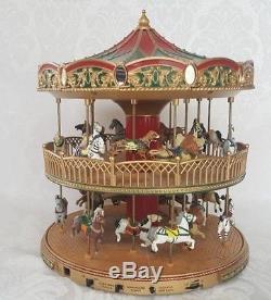 Mr. Christmas Double Decker Carousel Nottingham Fair Marry Go-round Lights Music