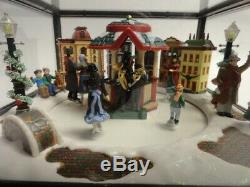 Mr Christmas GIANT Curio Cabinet Moving Victorian Era Skaters Music Box VIDEO