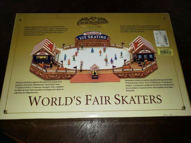 Mr. Christmas Gold Label Collection World's Fair Ice Skaters Skating Rink Nib